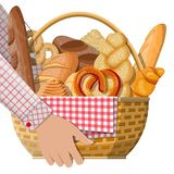 Bread icons and wicker basket in hand. vector illustration