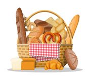 Bread icons and wicker basket. Whole grain, wheat and rye bread, toast, pretzel, ciabatta, croissant, bagel, french baguette, cinnamon bun. Vector illustration stock illustration