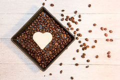 Bread In Shape Of Heart With  Coffee Bean