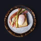Bread including onzen egg and bacon Stock Photos