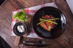 Bread  including onzen Egg , Bacon Royalty Free Stock Photos
