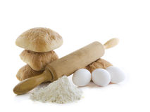 Bread ingredients. Fresh bread with ingredients on a white background Stock Photos