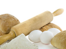 Bread ingredients. Fresh bread with ingredients on a white background Royalty Free Stock Photo