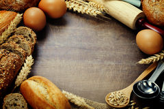 Bread and ingredients royalty free stock photos