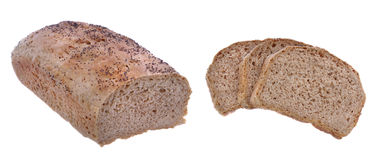 Bread isolated. Sliced brown bread on white background Stock Image