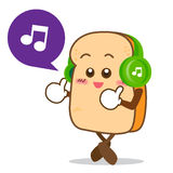 Bread-13 Isolated happy smile listening music Slice of bread car. Isolated happy smile listening music Slice of bread cartoon vector illistration Royalty Free Stock Photography