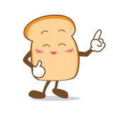 Bread-09 Isolated happy smile point finger Slice of bread cartoo Royalty Free Stock Photos