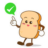 Bread-11 Isolated happy smile shop right Slice of bread cartoon Stock Images