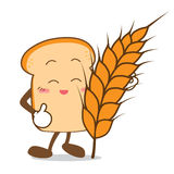 Bread-15 Isolated happy smile  Slice of bread cartoon and wheat Stock Photo