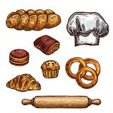 Bread, croissant and bun, cake and cupcake sketch. Bread isolated sketch of bakery and pastry shop product. Loaf of wheat bread, croissant and bun, cake, cupcake royalty free illustration