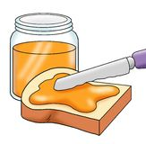 Bread with the jam. Colored illustration of a slice of bread with the jam stock illustration