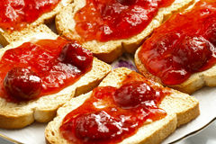 Bread and Jam. Toasted bread and jam on plate stock photos