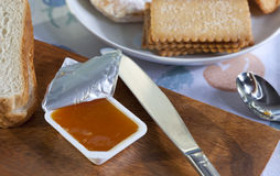 Bread and Jam. Delicious breakfast with bread and peach jam Stock Photo