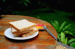 Bread and jam. In resort's Thailand royalty free stock photos