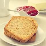 Bread, jam and butter Royalty Free Stock Photos