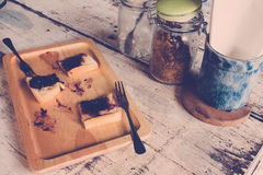 Bread with jam from coffee shop,vintage tone. Royalty Free Stock Photos