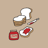 Bread and jam Stock Images