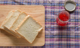 Bread & jam. Prepare bread and jam for eating Royalty Free Stock Photo