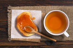 Bread with jam and tea Stock Photo