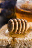 Bread and jar of lavender honey Stock Image