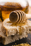 Bread and jar of lavender honey Stock Photography