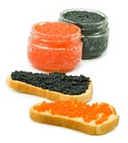 Bread and jars black and red caviar Stock Photos