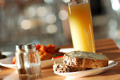 Bread&Juice. Bread and a glass of juice Royalty Free Stock Photo