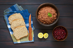 Bread with Kidney Bean Spread Stock Photo