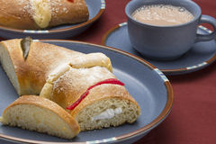 The bread of kings day. Three kings bread (Rosca de Reyes in spanish) is a traditional mexican sweet bread in the form of a ring, this cake is decorated with Royalty Free Stock Images