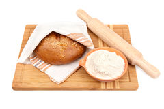 Bread and kitchen utensils Royalty Free Stock Photos