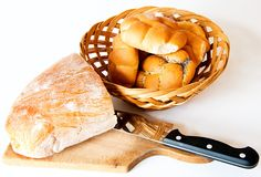 Bread with knife. Stock Photos