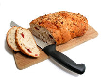 Bread knife board Stock Photo