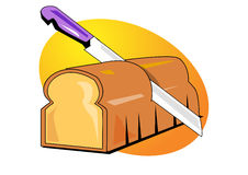 Bread and knife illustration Royalty Free Stock Photography