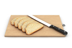 Bread with knife over a wooden board Royalty Free Stock Image