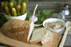 Free Bread Lard And Pickles Royalty Free Stock Photos - 32115488