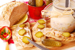 Bread with lard and gherkin Stock Photos