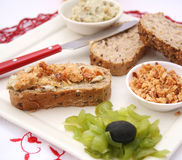 Bread with lard and onions. Some fresh bread with lard and onions Stock Photos