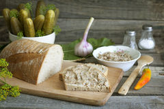 Bread lard and pickles Stock Images
