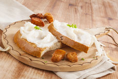Bread with lard and scratchings. Royalty Free Stock Photo