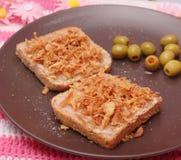 Bread with lard Stock Photo