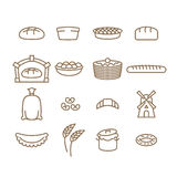 Bread linear icon set. Baking. Bakery products. Muffin and bread Stock Photo