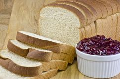 Bread and lingonberry jam Royalty Free Stock Photo