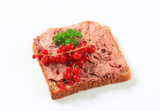 Bread and liver pate. Slice of bread and liver pate Stock Image