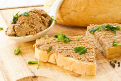 Bread with liver pate Stock Photo