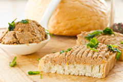 Bread with liver pate Royalty Free Stock Images