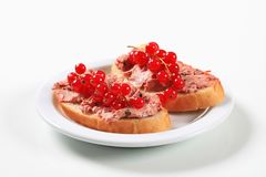Bread with liver pate. Slices of bread with liver pate and red currants Royalty Free Stock Photography