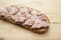Bread with liver sausage Stock Photos