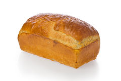 Bread Loaf. Fresh baked homemade bread loaf against a white background royalty free stock photography