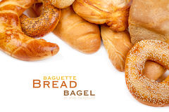 Bread, loaf, baguette, bagel Stock Images