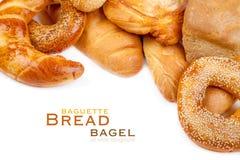 Bread, loaf, baguette, bagel Stock Images